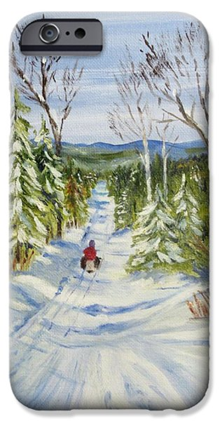 Snow iPhone Cases - Winter Fun iPhone Case by Jane Baribeau