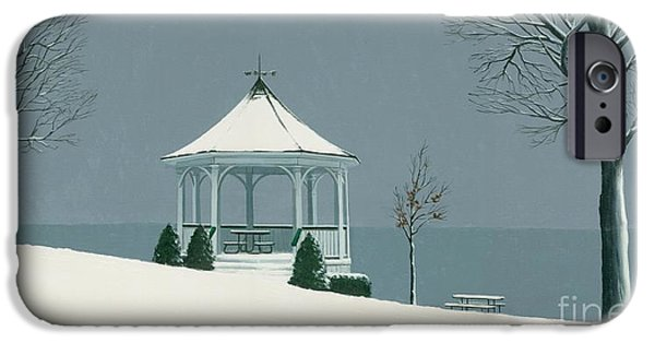 Michael Swanson iPhone Cases - Winter Gazebo iPhone Case by Michael Swanson