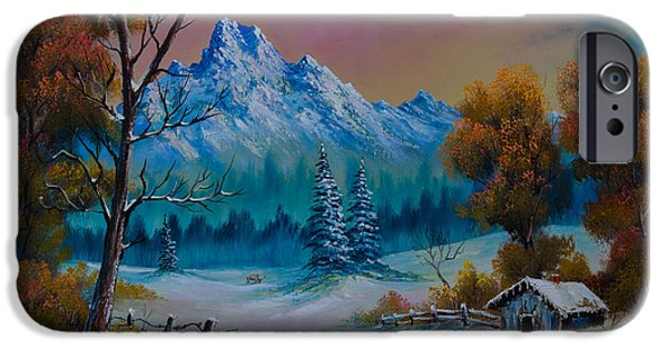 Bob Ross Paintings iPhone Cases - Winter Den iPhone Case by C Steele