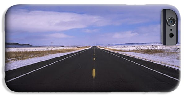 Asphalt iPhone Cases - Winter Highway Passing iPhone Case by Panoramic Images