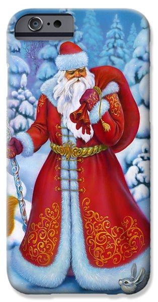 Santa Drawings iPhone Cases - Merry Christmas iPhone Case by Eldar Zakirov