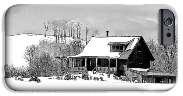 Winter Storm Drawings iPhone Cases - Winter Home iPhone Case by John Haldane