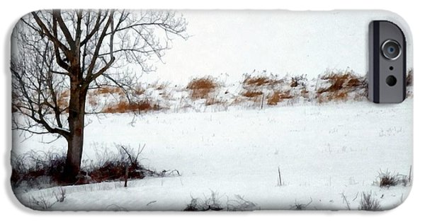 Wintertime Digital Art iPhone Cases - Winter Horse Pasture 2 iPhone Case by Janine Riley