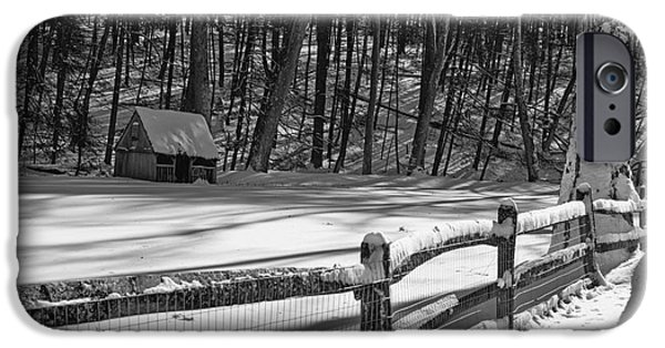 Grist Mill iPhone Cases - Winter Hut in Black and White iPhone Case by Paul Ward