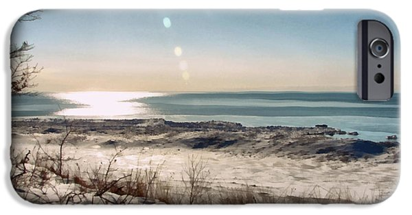 Wintertime Digital Art iPhone Cases - Winter Ice on Lake Michigan ll iPhone Case by Michelle Calkins