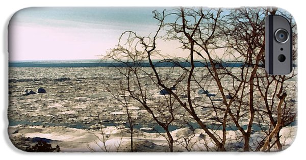 Wintertime Digital Art iPhone Cases - Winter Ice on Lake Michigan iPhone Case by Michelle Calkins