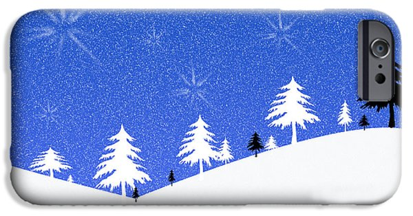 Graphic Design iPhone Cases - Winter illustration in blue black and white iPhone Case by Patricia Hofmeester