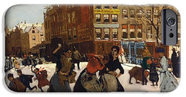 Snow-covered Landscape Paintings iPhone Cases - Winter in Amsterdam iPhone Case by Georg Hendrik Breitner