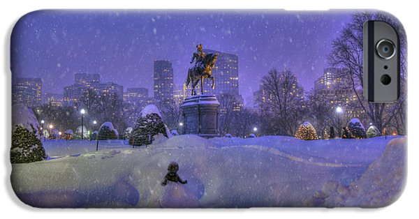 City. Boston iPhone Cases - Winter in Boston - George Washington Monument - Boston Public Garden iPhone Case by Joann Vitali