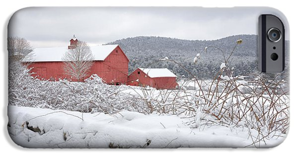 Old Barns iPhone Cases - Winter in Connecticut iPhone Case by Bill  Wakeley