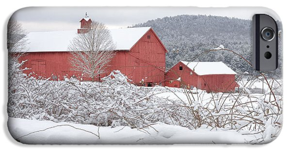 New England Snow Scene iPhone Cases - Winter in Connecticut square iPhone Case by Bill  Wakeley