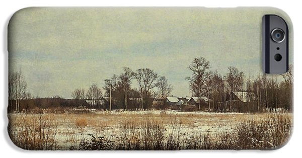 House iPhone Cases - Winter in Countryside iPhone Case by Jenny Rainbow