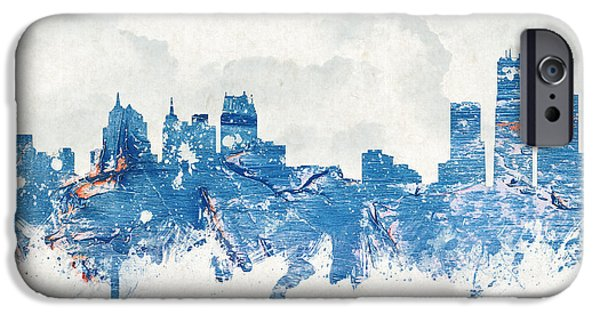 Downtown Mixed Media iPhone Cases - Winter in Detroit Michigan USA iPhone Case by Aged Pixel