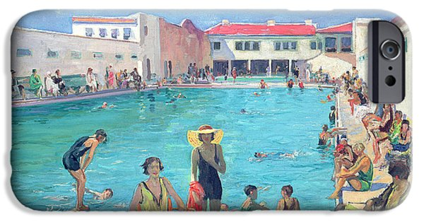 Bathers iPhone Cases - Winter In Florida Oil On Canvas iPhone Case by Sir John Lavery