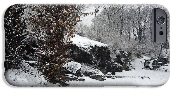 Snow Scene iPhone Cases - Winter in Hill Park iPhone Case by Ellen Tully