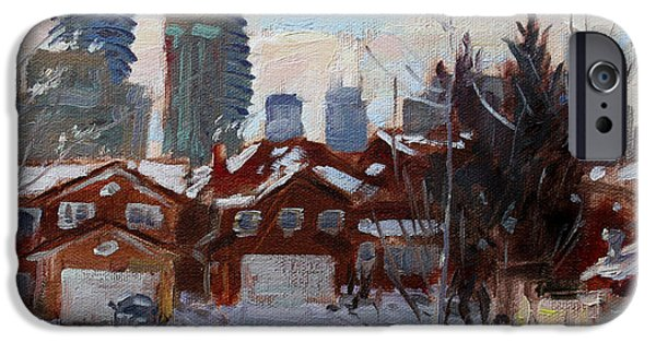 Toronto Paintings iPhone Cases - Winter in Mississauga  iPhone Case by Ylli Haruni