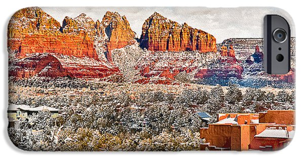 Mystical Landscape Mixed Media iPhone Cases - Winter in Sedona Arizona 2 iPhone Case by  Bob and Nadine Johnston