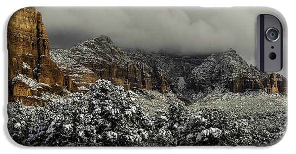 Winter Storm iPhone Cases - Winter In Sedona iPhone Case by Brian Oakley  Photography
