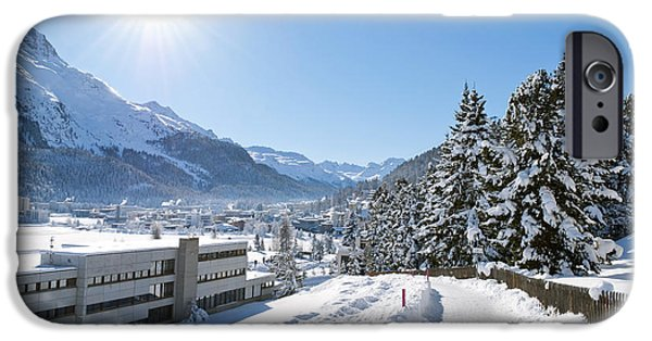 Swiss Mixed Media iPhone Cases - Winter in St. Moritz  iPhone Case by Design Windmill