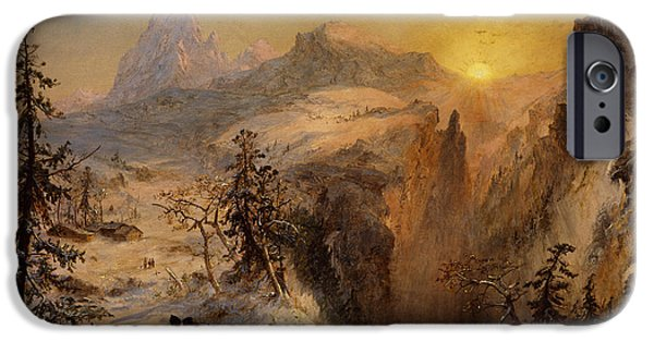 Snowy Day iPhone Cases - Winter in Switzerland iPhone Case by Jasper Francis Cropsey
