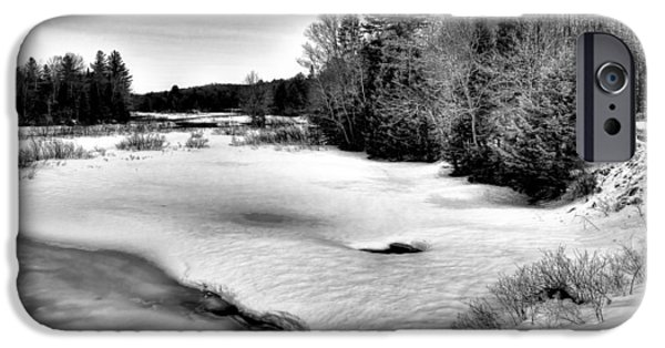 Snow Scene iPhone Cases - Winter in the Adirondacks - Old Forge New York iPhone Case by David Patterson
