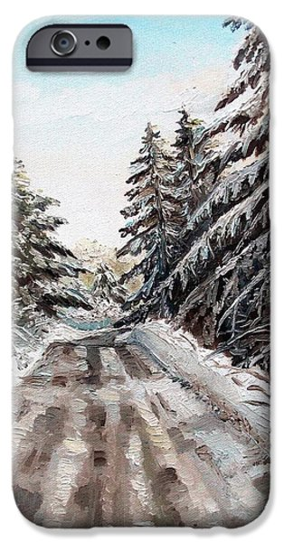 Maine Roads Paintings iPhone Cases - Winter in the Boons iPhone Case by Shana Rowe