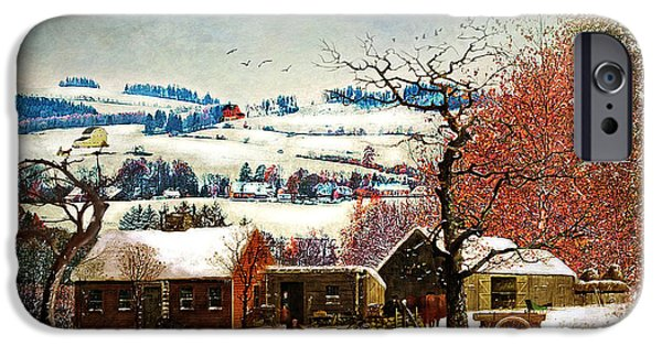 Snow Scene iPhone Cases - Winter In the Country Folk Art iPhone Case by Lianne Schneider
