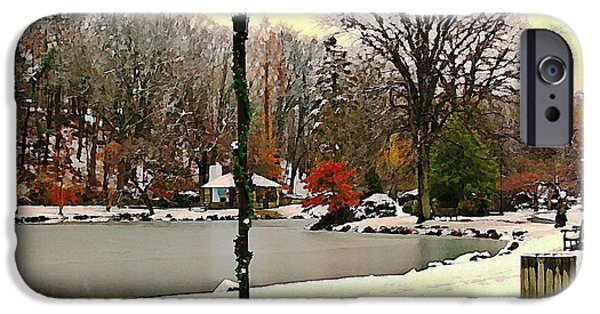 Snowy Day Digital Art iPhone Cases - Winter In The Park iPhone Case by Judy Palkimas
