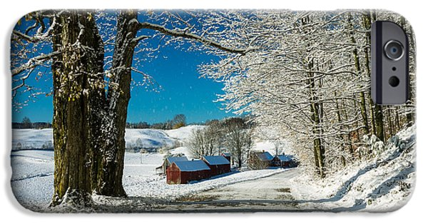 Barns Photographs iPhone Cases - Winter in Vermont iPhone Case by Edward Fielding