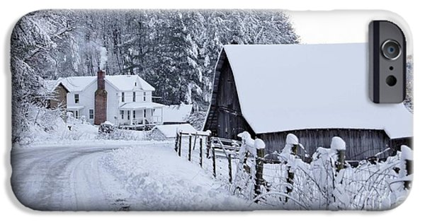 Barns In Snow iPhone Cases - Winter in Virginia iPhone Case by Benanne Stiens