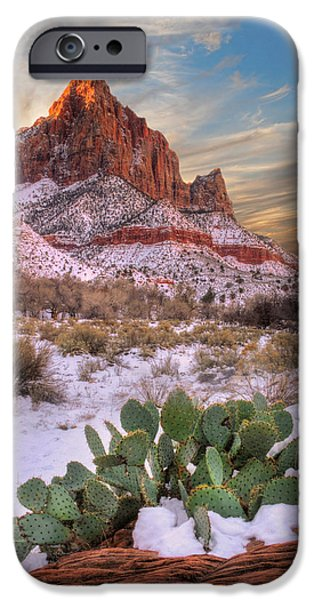 Winter in Zion National park Utah iPhone Case by Utah Images