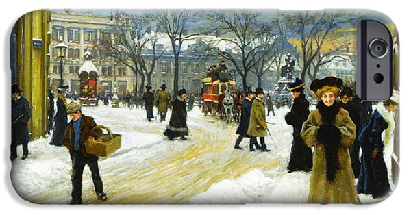 Horse And Buggy iPhone Cases - Winter into Kongens iPhone Case by Paul Gustav Fischer