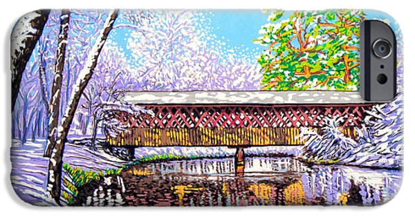 Covered Bridge Mixed Media iPhone Cases - Winter into Spring iPhone Case by David Linton