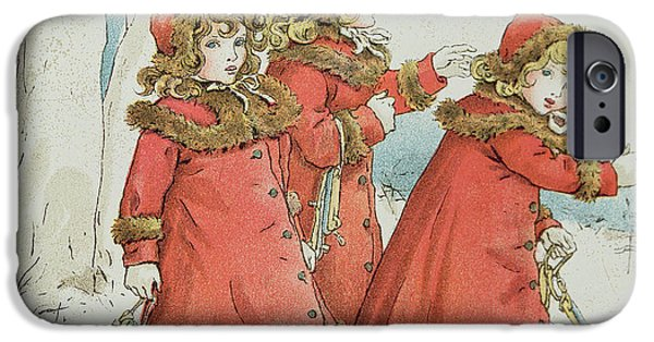 Snowy Drawings iPhone Cases - Winter iPhone Case by Kate Greenaway