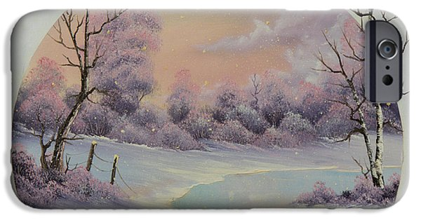 Bob Ross Paintings iPhone Cases - December Frost iPhone Case by C Steele