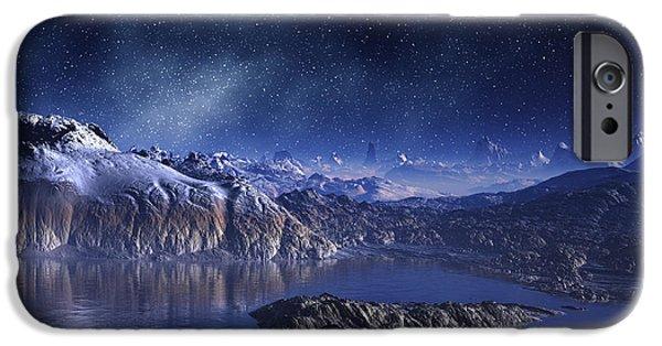 Snowy Night Digital iPhone Cases - Winter Lake Snowy Night iPhone Case by Judi Suni Hall
