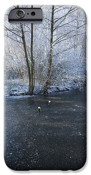 Snowy Stream iPhone Cases - Winter Lake iPhone Case by Svetlana Sewell