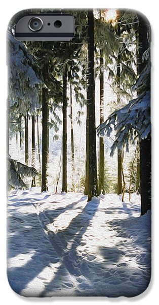 Peaceful Scenery iPhone Cases - Winter Landscape iPhone Case by Aged Pixel