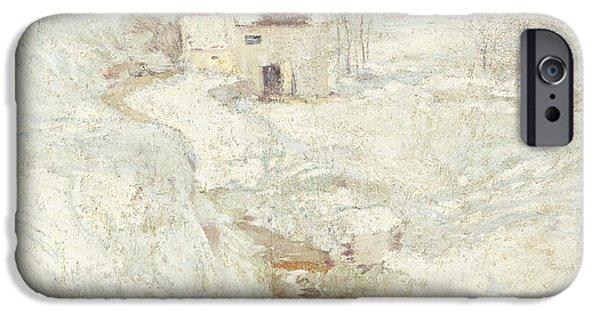 Snowy Day iPhone Cases - Winter Landscape iPhone Case by John Henry Twachtman