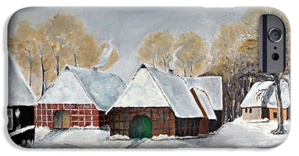 House Art iPhone Cases - Winter landscape iPhone Case by Manfred Lutzius