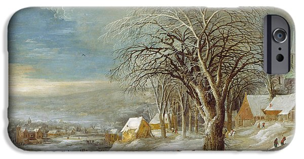 Rural iPhone Cases - Winter Landscape Oil On Canvas iPhone Case by Joos or Josse de, The Younger Momper