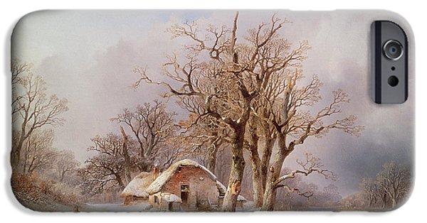 Snow iPhone Cases - Winter Landscape Oil iPhone Case by Remigius van Haanen