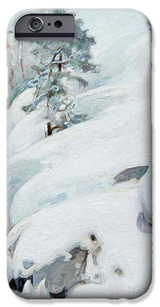Europa Paintings iPhone Cases - Winter Landscape iPhone Case by Celestial Images