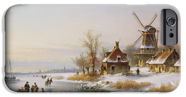 Snow iPhone Cases - Winter Landscape With A Windmill, 19th Century iPhone Case by J. Kleyn Lodewyk