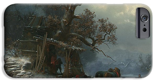 Winter Wonderland iPhone Cases - Winter landscape with figures on a frozen river iPhone Case by Heinrich Hofer