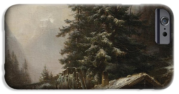 Dogs In Snow. Paintings iPhone Cases - Winter landscape with figures resting near a water mill iPhone Case by Heinrich Hofer