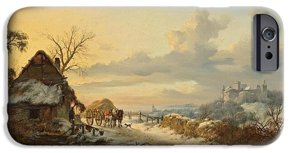 Horse And Cart Paintings iPhone Cases - Winter landscape with horses and carts iPhone Case by Frederik Marinus Kruseman