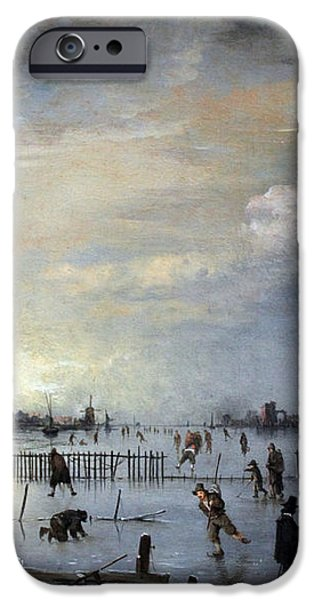 Winter Landscape with Skaters iPhone Case by Gianfranco Weiss