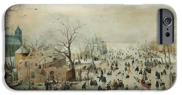Pleasure iPhone Cases - Winter Landscape With Skaters. C.1608 Oil On Panel iPhone Case by Hendrik Avercamp