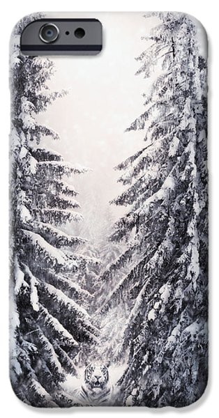 Snowy Mixed Media iPhone Cases - Winter Light and Tiger iPhone Case by Svetlana Sewell